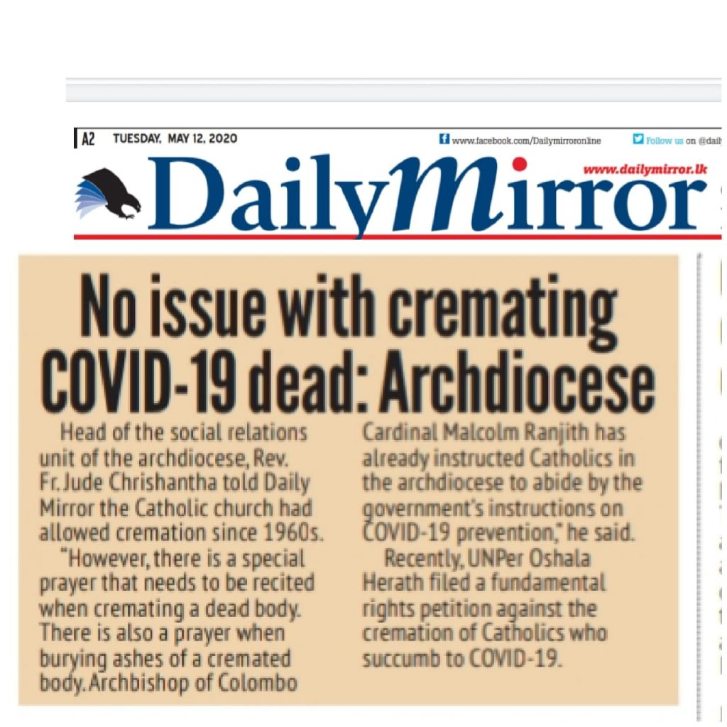 No issue with cremating COVID-19 dead: Archdiocese