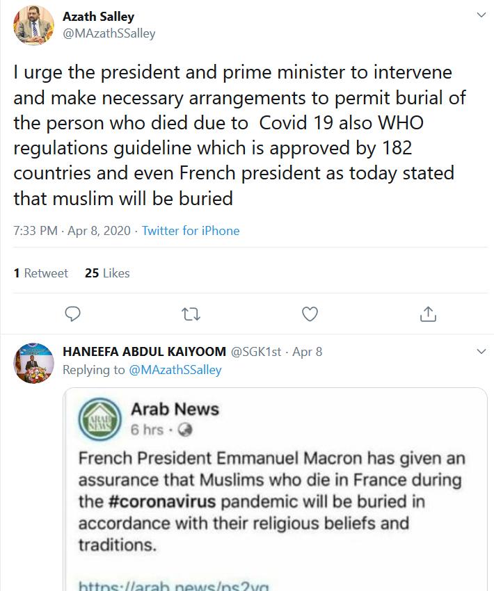 Former Governer of Western Province Azath Salley's Tweet