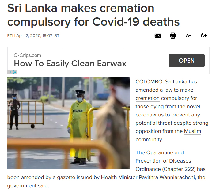 Sri Lanka makes cremation compulsary for Covid-19 deaths – The Times of India