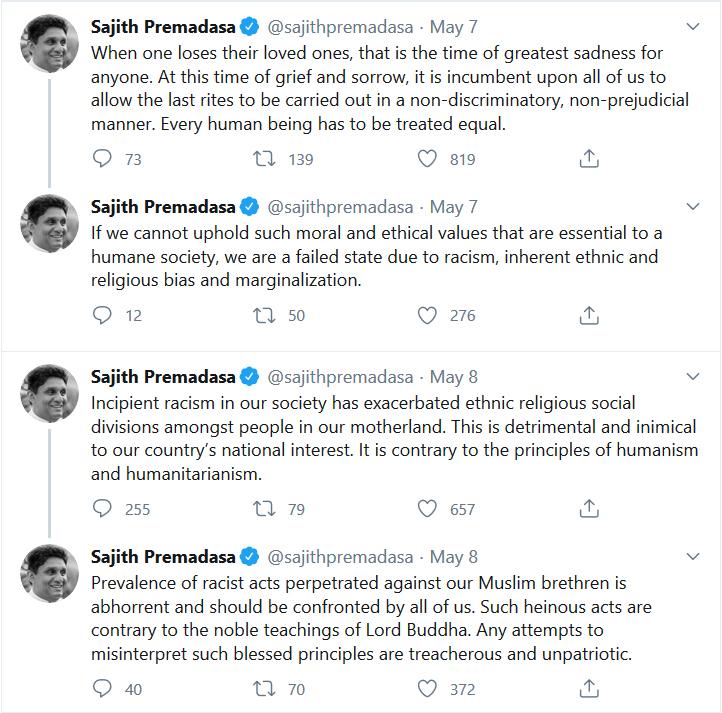 Parliamentarian Sajith Premadasa's tweet about Covid19 related racism in Sri Lanka
