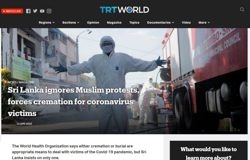 Sri Lanka ignores Muslim protests, forces cremation for coronavirus victims – TRT World