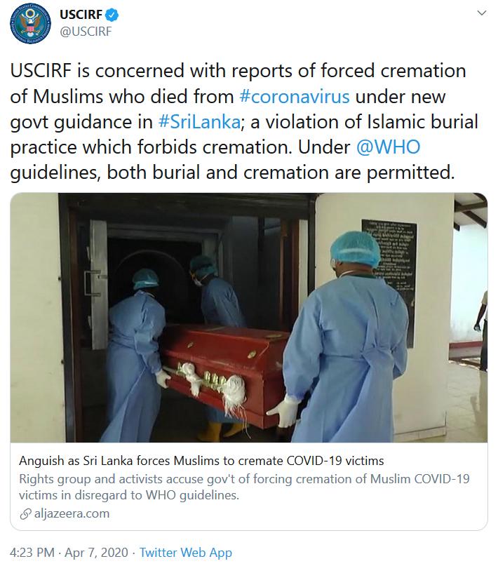 United States Commission on International Religious Freedom's Tweet